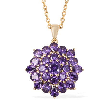 Mix Metal 14K Yellow Gold Plated Round Cubic Zircon Purple Pendant Necklace 20