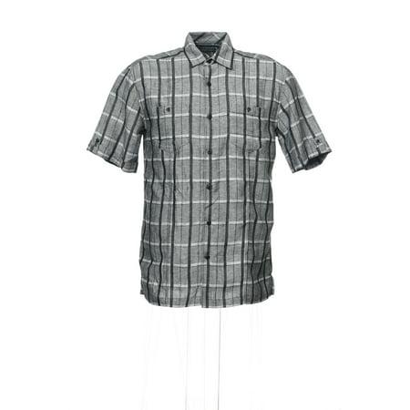 Cubavera Gray Plaid Camp Shirt , Size Small