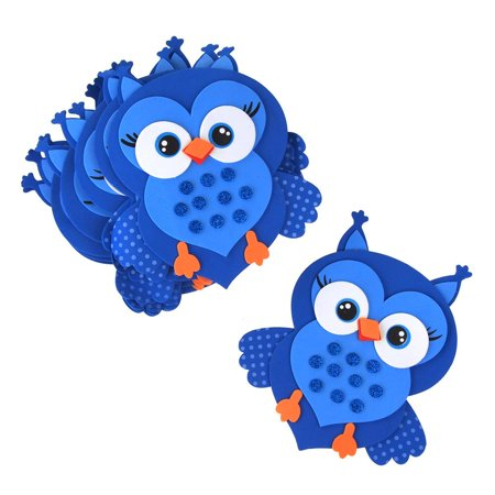 Foam Owl Animal Cutouts with Glitter, Blue, 7-1/2-Inch, 10-count](Owl Cutouts)