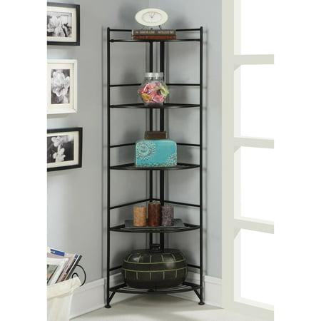 Xtra Storage 5 Tier Folding Metal Corner Shelf, Black Finish