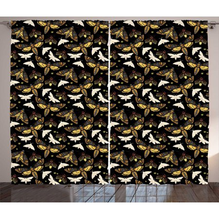 Firefly Curtains 2 Panels Set, Flying Moths Mysterious Insects of Night Dreamy Forest Butterflies Magical Graphic, Window Drapes for Living Room Bedroom, 108W X 96L Inches, Multicolor, by Ambesonne](Flying Fireflies)
