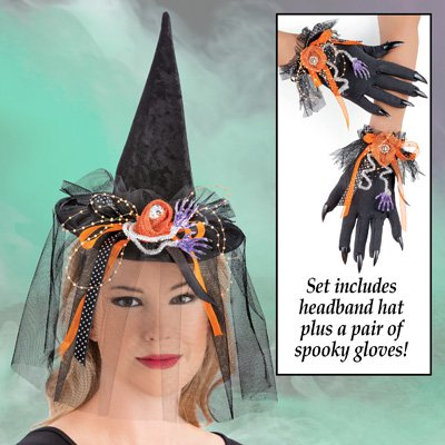 Witch Headband Hat and Glove Set, Easy Costume with Long Fingernails, 3 Pc, Black, One Size Fits All