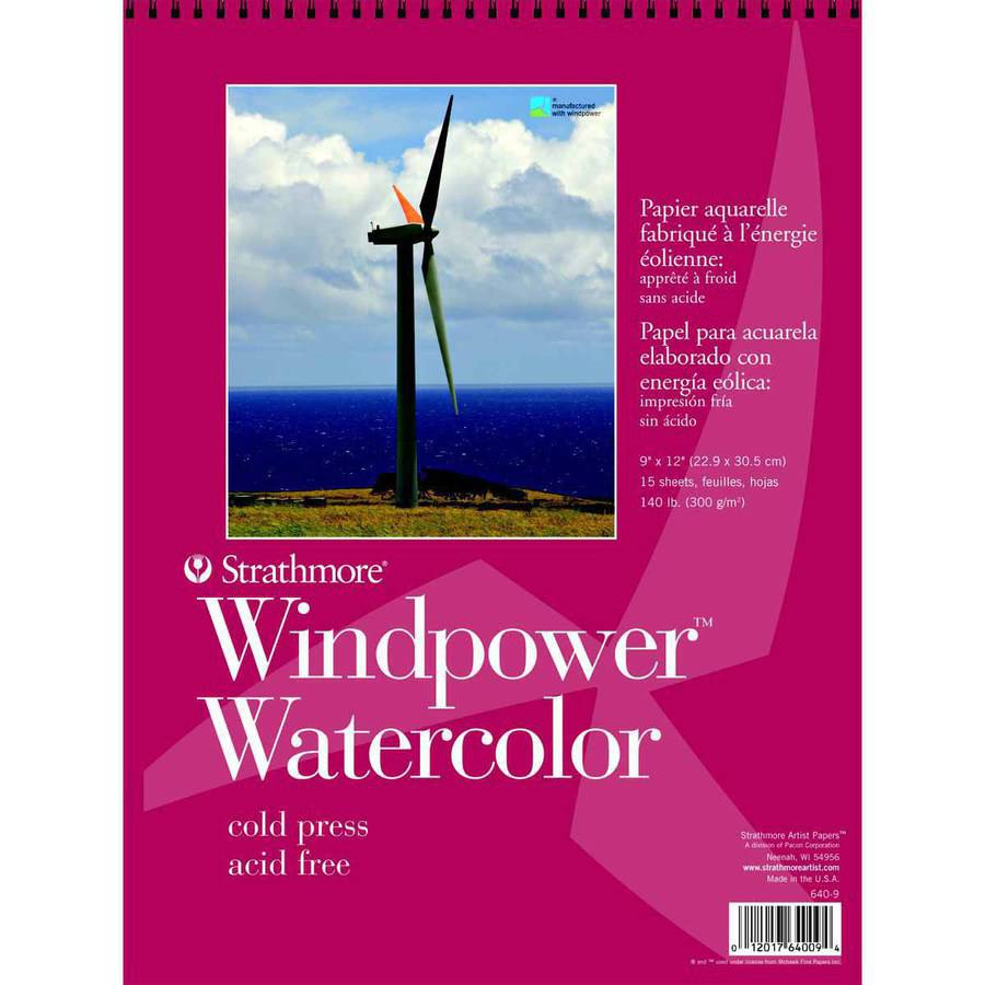 "Strathmore Windpower Watercolor Pad, 9"" x 12"", White, 15 Sheets"