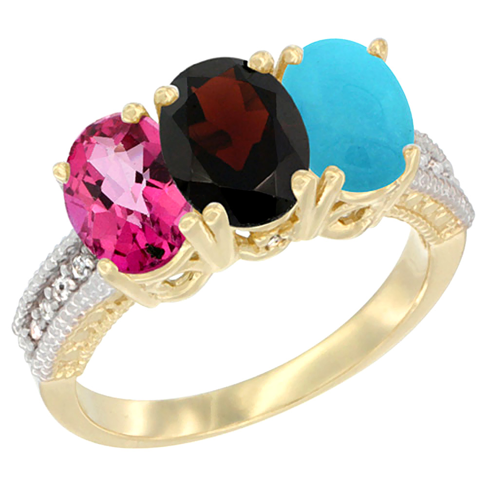 10K Yellow Gold Diamond Natural Pink Topaz, Garnet & Turquoise Ring 3-Stone Oval 7x5 mm, sizes 5 10 by WorldJewels