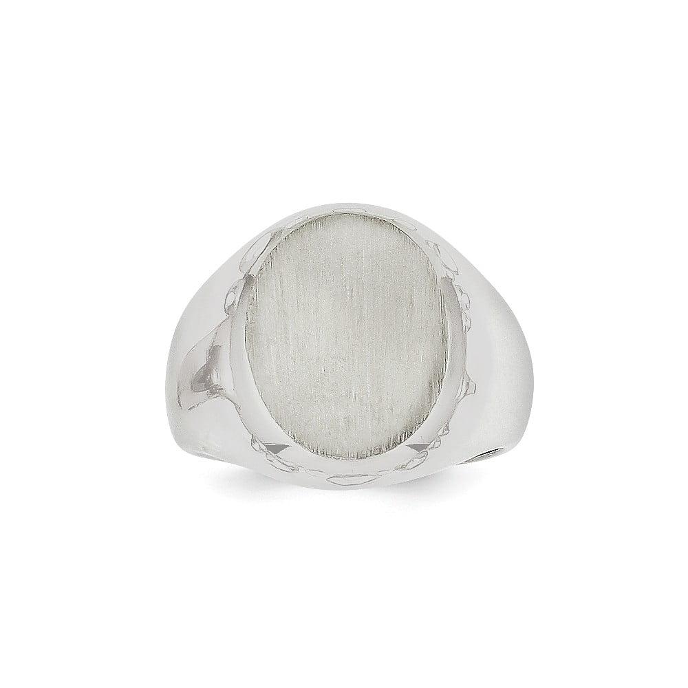 14k White Gold Engravable Men's Signet Ring (15.8mm x 12.3mm face)