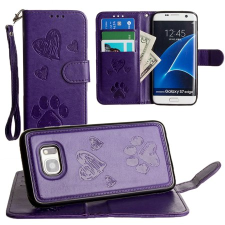 CellularOutfitter Samsung Galaxy S7 Edge Wallet Case - Embossed Puppy Love Design w/ Matching Detachable Case and Wristlet - (Marching Case)