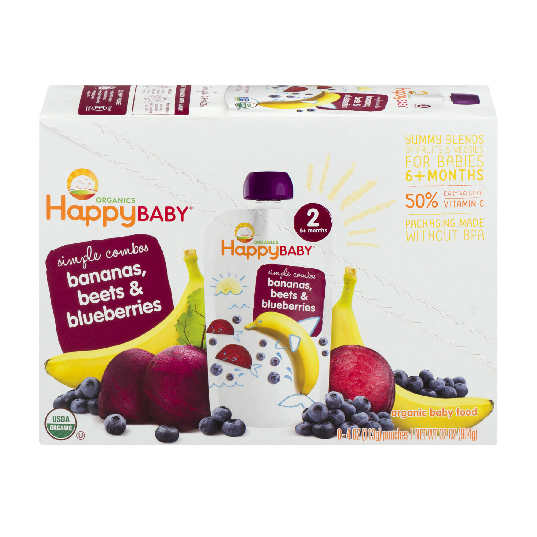 Happy Baby® Simple Combos Bananas, Beets & Blueberries Organic Baby Food 8- 4oz. Pouches