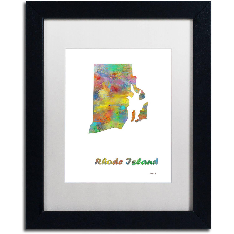 "Trademark Fine Art ""Pennsylvania State Map-1"" Canvas Art by Marlene Watson, White Matte, Black Frame"