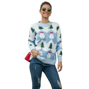 Winter Long Sleeve Christmas Snowman Tree Knitted Sweater Pullover Jumper Tops for Women Casual Loose Xmas Print Crew Neck Knitwear Sweaters