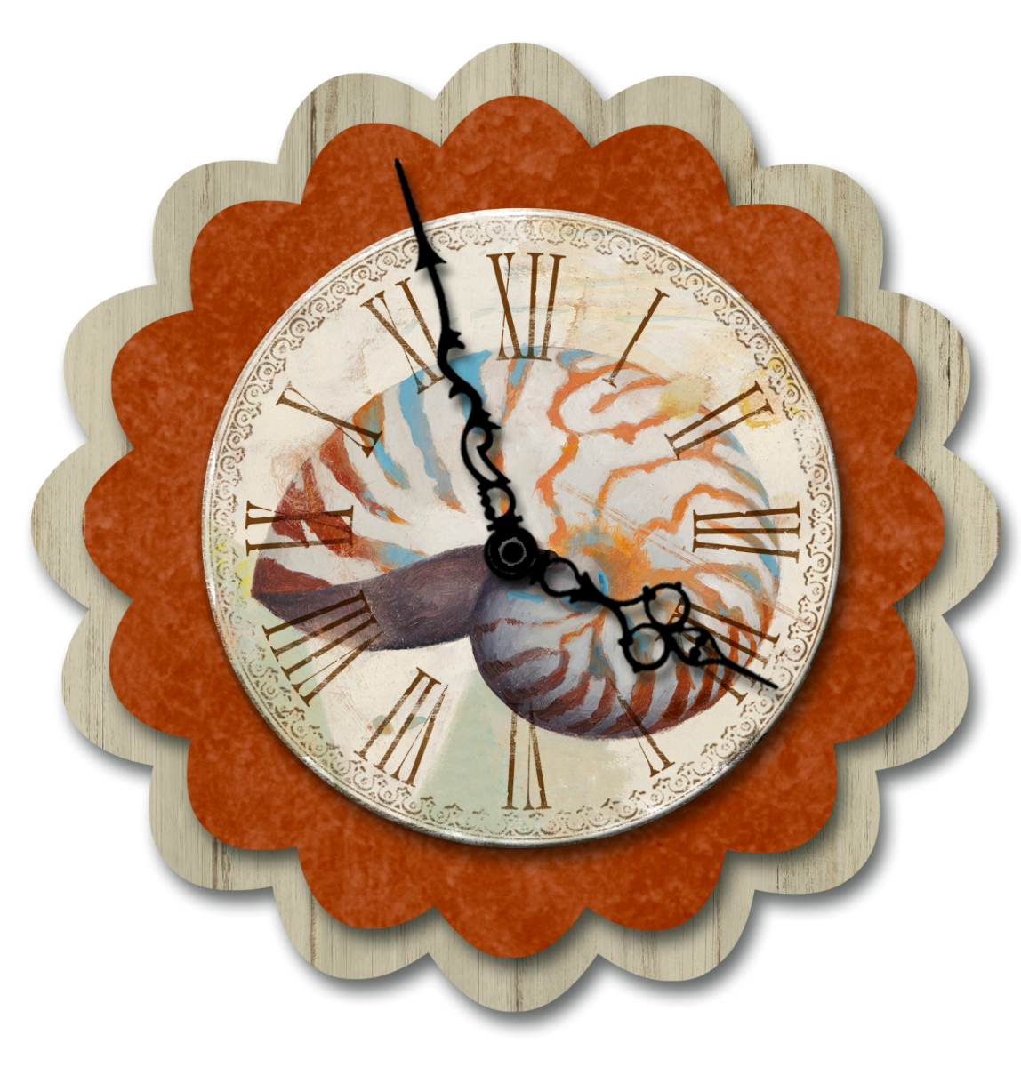 Pretty Nautilus Seashell Shell Reef Battery Operated 3-D Wood 16 Inch Wall Clock