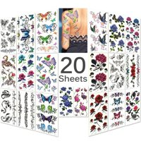 """""""TRICOLOUR Mixed Style Body Art Temporary Tattoos Paper, Flowers, Roses, Butterflies 20 Sheets"""""""
