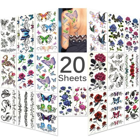 Power Temporary Tattoos (Lady Up Mixed Style Body Art Temporary Tattoos Paper, Flowers, Roses, Butterflies 20 Sheets )