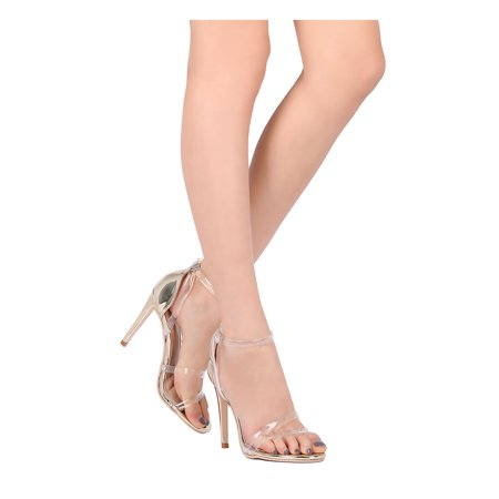 New Women Elegant Collection Delialy13 Metallic Lucite Ankle Strap Stiletto Heel - Heel Collection