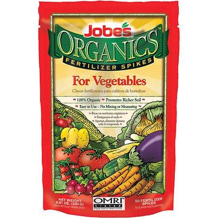 Jobes Easy Gardener 06028 50 Pack Organics Vegetable Fertilizer Spikes 2-7-4