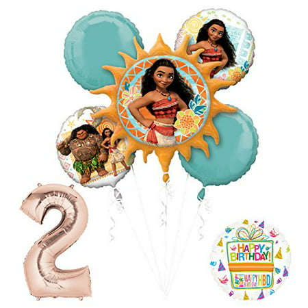 Moana 2nd Birthday party Supplies and Princess Balloon Bouquet Decorations