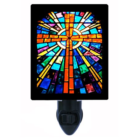 Night Light - Photo Light - Stained Glass Cross - Religious - Stained Glass Crosses