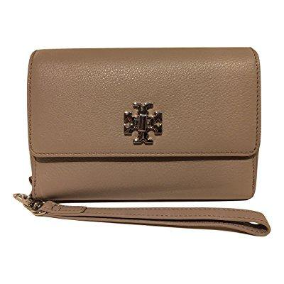 51c1be17621ee ... tory burch mercer leather smartphone bi-fold wristlet wallet (french  gray)