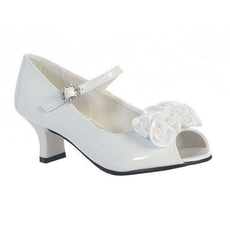 Children's Occasion Shoes (Girls White Pearled Nancy Occasion Dress Shoes 11-4)