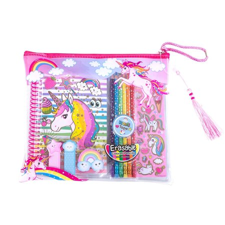 Hot Focus Rainbow Unicorn Coloring Journal Set with Pencil Case, Erasable Colored Pencils and Washi Tape For - Rainbow Colored