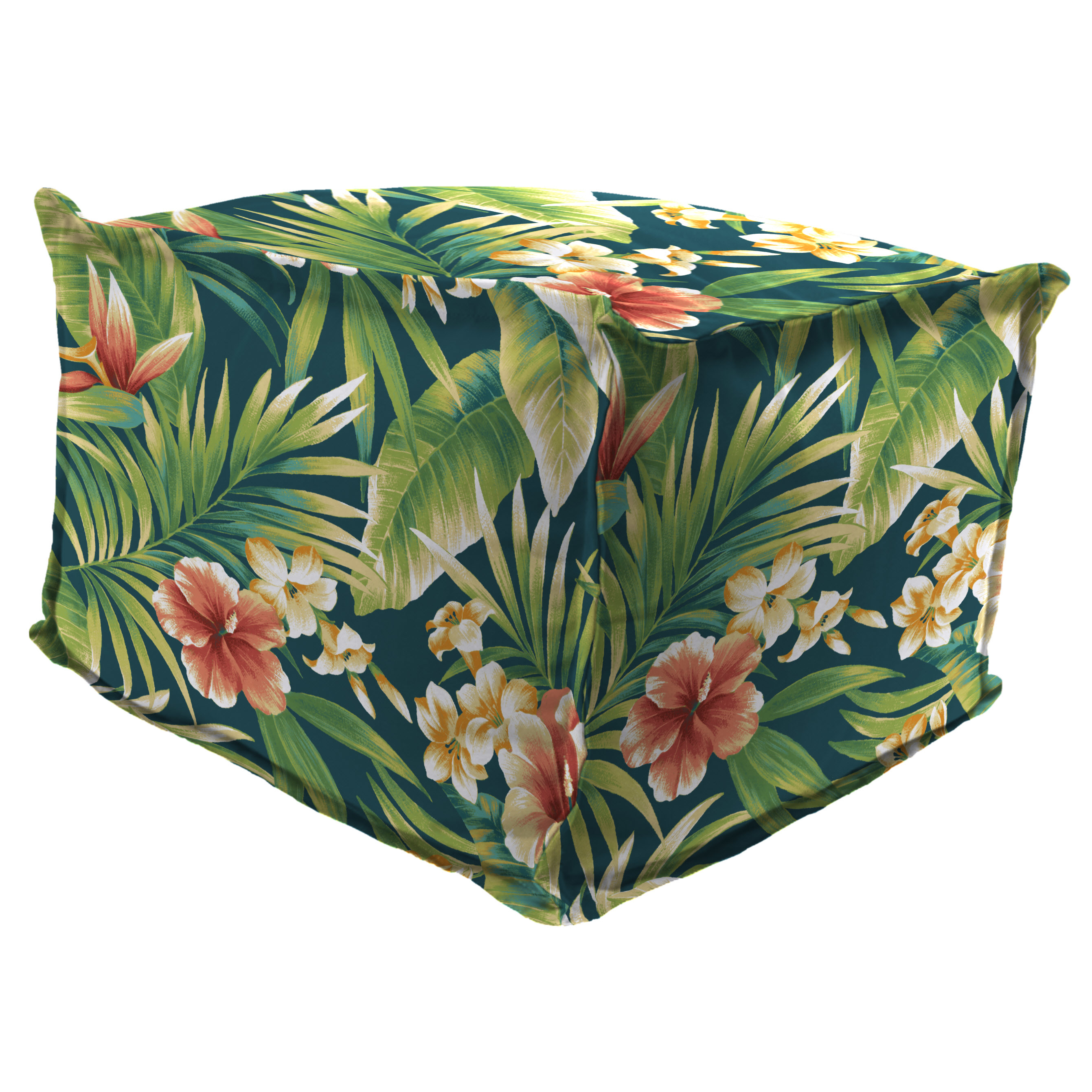 """Jordan Manufacturing Outdoor 20"""" x 20"""" Flanged Pouf/Ottoman, Bead Filled, Cypress Lagoon"""