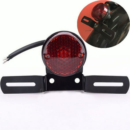 Red Round Motorcycle LED Stop Tail Rear Brake Light For Harley Cafe Racer -