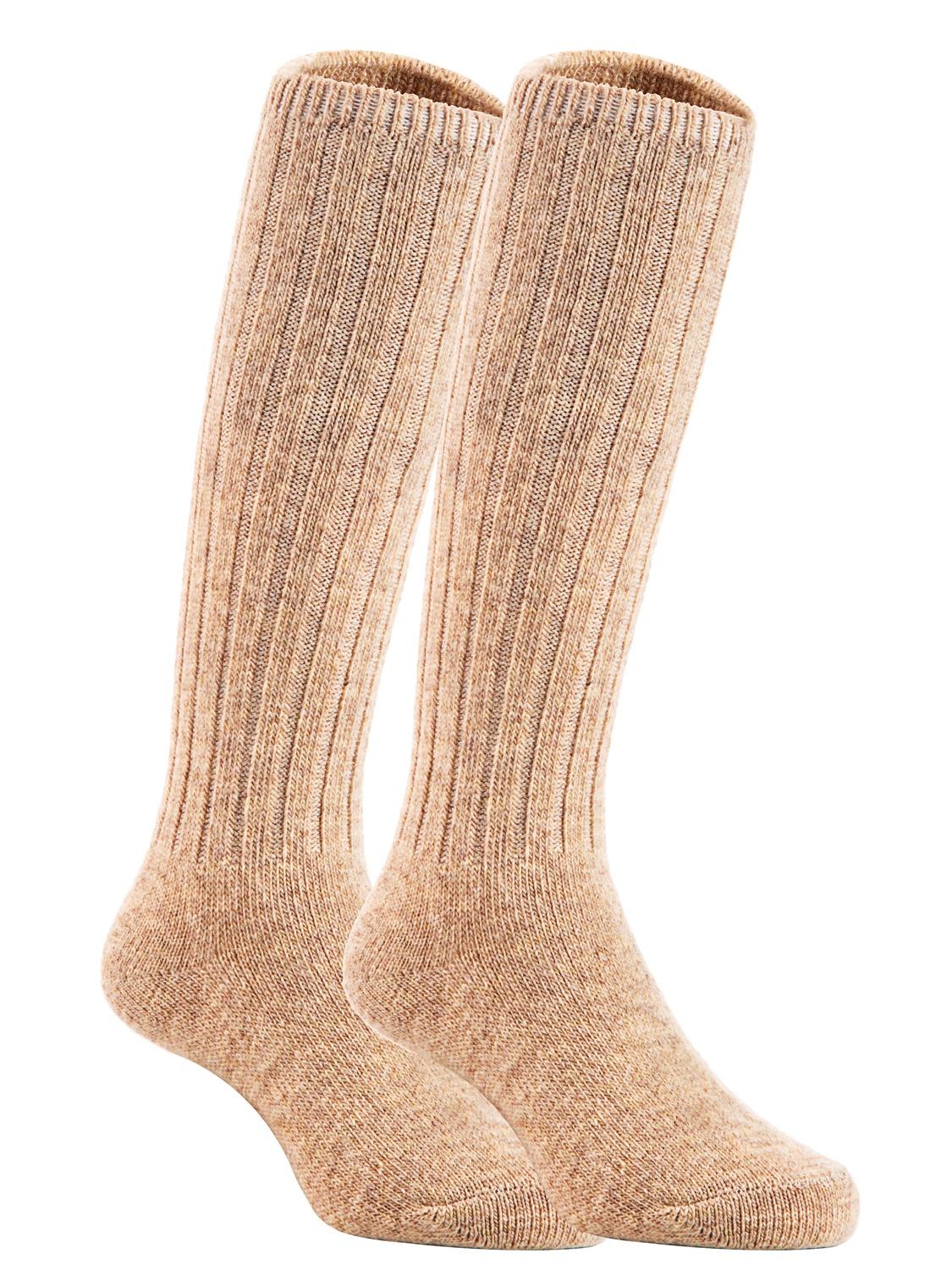 Lian LifeStyle Unisex Baby Children 3 Pairs Knee High Wool Blend Boot Socks Size 0-2Y  (Beige)