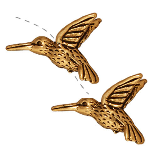 22K Gold Plated Pewter Hummingbird Beads 13mm (2)