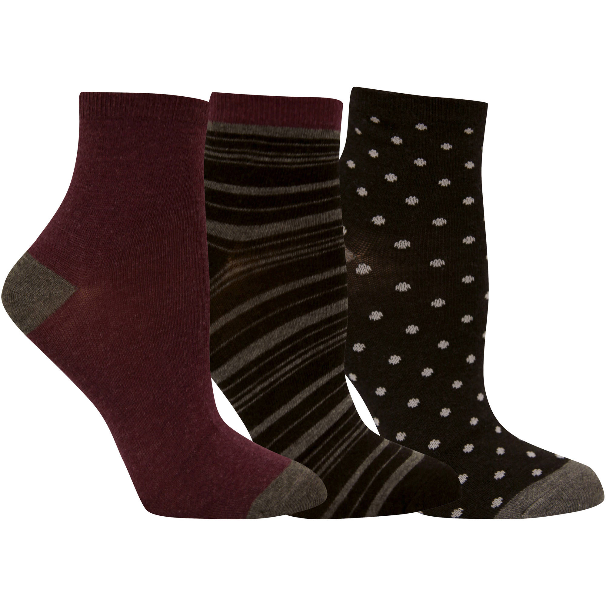 Faded Glory Womens Assorted Stripe Ankle Socks - 3 Pack