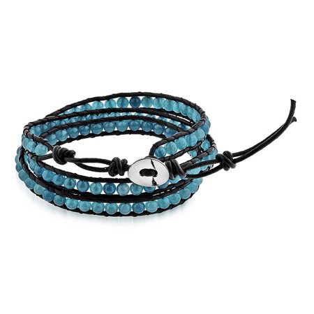 - Teal Bead Leather Bracelet with Adjustable Stainless Steel Button Closure - 7