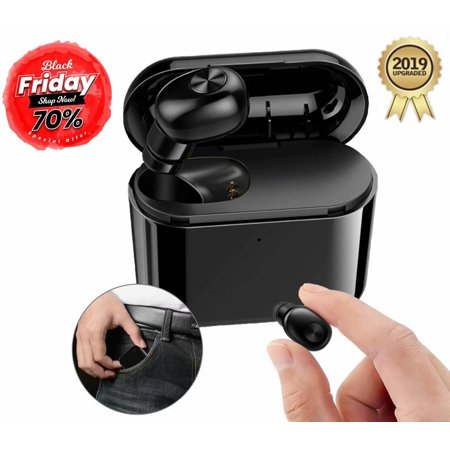 Black Friday Clearance!!!Wireless Earbuds, Upgraded Noise Cancelling Bluetooth Earbuds with 3D Stereo Sound Mini In-Ear Sports Earphones Car Headset with Mic(Black)