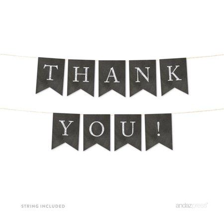 Thank You! Vintage Chalkboard Pennant Party Banner