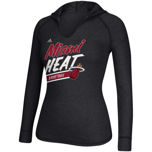 Women's adidas Black Miami Heat Stripe Slant Long Sleeve Hooded T-Shirt by Adidas
