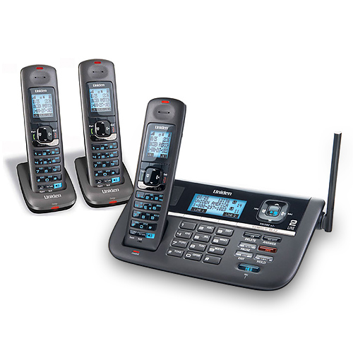 Uniden DECT4086-3 Cordless Phone with Blue Backlit LCD Display & 3 Handsets by Uniden