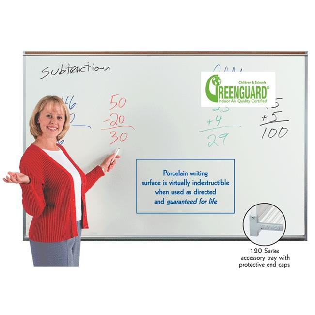 Aarco Products 120A-44CG Professional Series Porcelain Green Chalk Board With Map Rail, 4 x 4 ft.
