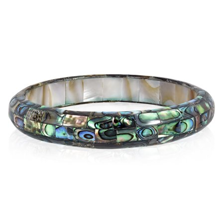 - Exquisite Abalone Shell Mosaic Bangle Bracelet