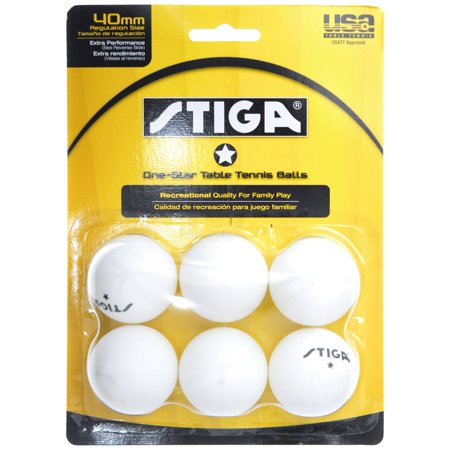 Stiga One Star White Table Tennis Balls - 6 Balls