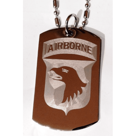 United States Army Armed Forces 101st Airborne Screaming Eagle Unit Division Rank Logo Symbols - Military Dog Tag Luggage Tag Key Chain Metal Chain Necklace (Military Dog Tags For Men)