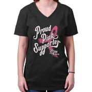 Breast Cancer Awareness Shirt | Proud Pink Supporter Ribbon V-Neck T-Shirt