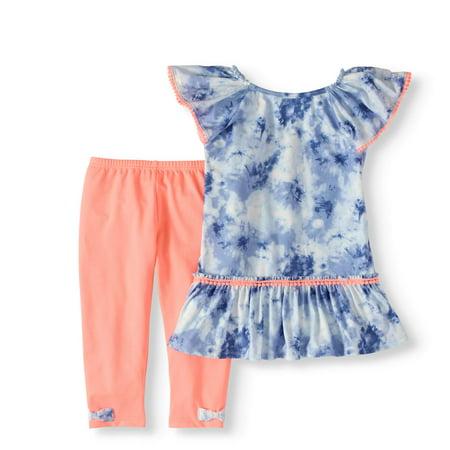 Tie-Dye Pom Pom Tunic and Capri Legging 2-Piece Set (Little Girls & Big Girls) (Clothing For Girls)