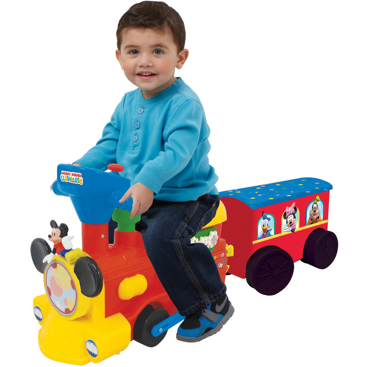 Disney Mickey Mouse 2-in-1 Battery-Powered Train with Trailer