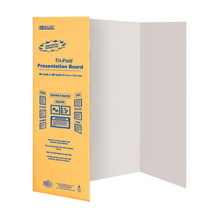 """BAZIC 36"""" X 48"""" White Tri-Fold Corrugated Presentation Board, Case of 24"""