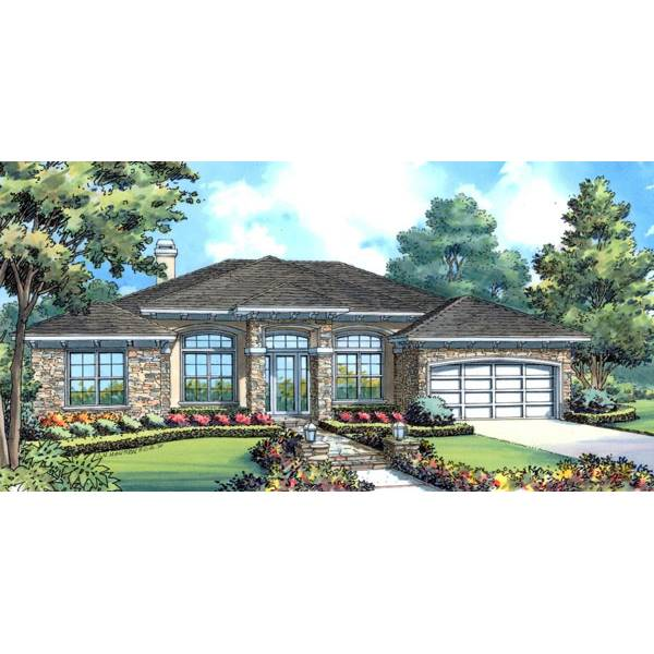 TheHouseDesigners-4430 Modern Ranch House Plan with Slab Foundation (5 Printed Sets)