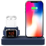 3 in 1 Apple iWatch Stand, Airpods Charger Dock, Phone Desktop Tablet Holder for Airpods, Apple Watch/ iPhone X/8 Plus/8/ 7 Plus/ iPad, Silver(Patenting, Airpods Charging Case NOT Included)