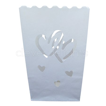 CleverDelights White Luminary Bags - 10 Count - Interlocking Hearts Design - Luminary Bag