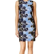 Calvin Klein NEW Blue Womens Size 12 Floral Crochet Lace Sheath Dress