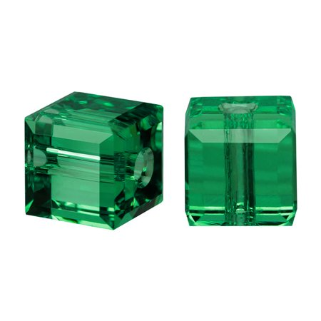 Swarovski Crystal, #5601 Cube Beads 6mm, 4 Pieces, Emerald (Swarovski Emerald Green Crystal)