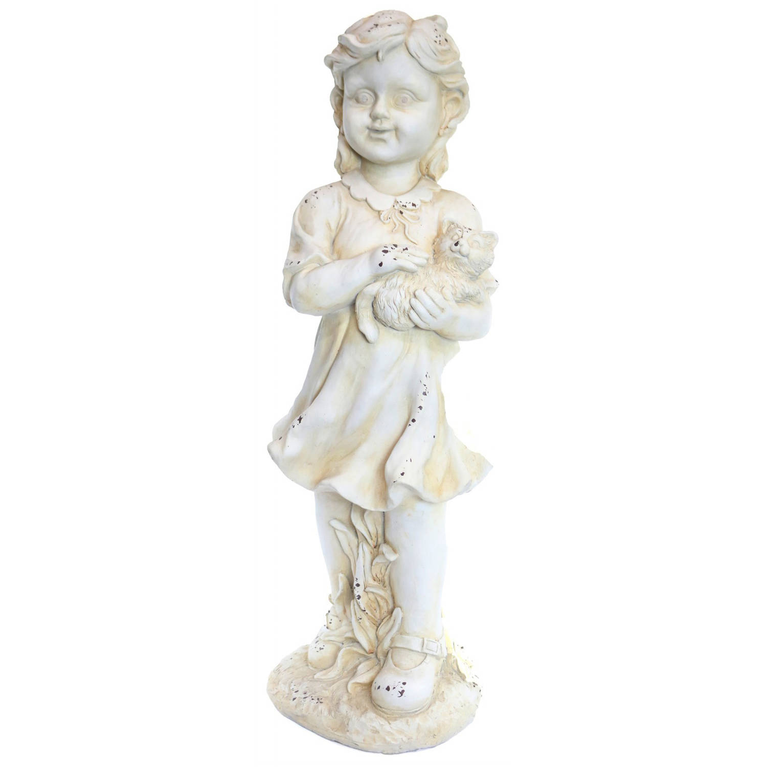 Girl Holding Kitten Cream Garden Statue by Alpine Corp