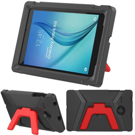 Samsung Galaxy Tab E 8.0 Case by KIQ (TM) Snug Kids Proof Shock Absorbant Foam Bumper Child Case for Samsung Galaxy Tab E 8.0 T377 (Black / Red Kickstand) for $<!---->