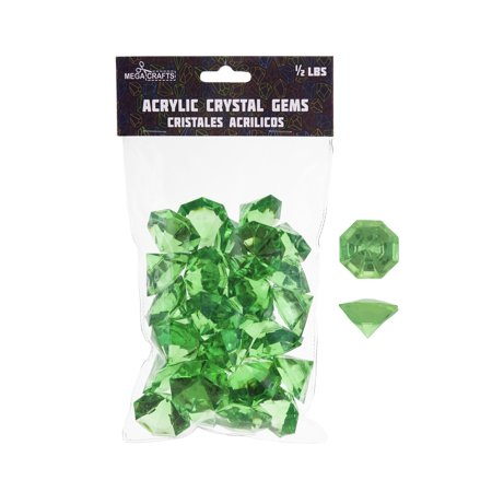 Mega Crafts - 1/2 lb Acrylic Large Diamonds Green | Plastic Glass Gems For Arts And Crafts, Vase Fillers And Table Scatters, Decoration Stones, Shiny Pebbles - Table Scatter Gems