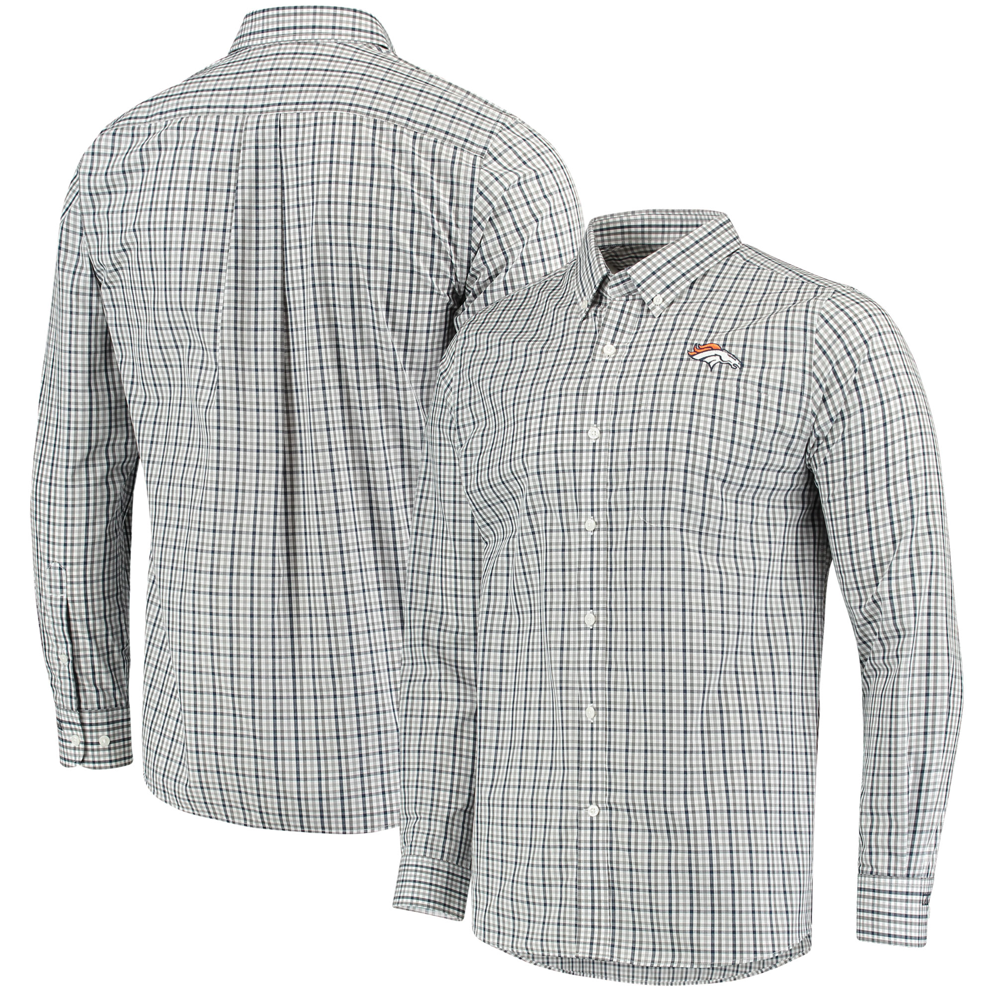 Denver Broncos Cutter & Buck Epic Easy Care Gilman Plaid Long Sleeve Button-Down Shirt - Navy